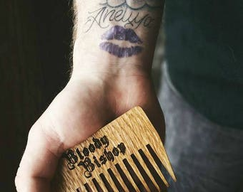 Beard Comb by Bloody BIshop - Oak and Beech Wood - protected  with  linseed oil