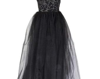 Abito lungo con corpetto seta e gonna in tulle nero - Long dress with silk bodice and skirt in black tulle - Skaracina