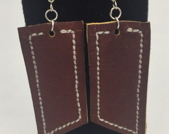 Wide Leather Earrings
