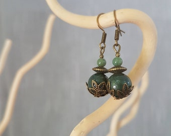 Jade green - antique bronze earrings