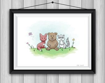 Woodland Creatures Art Printable, 8.5x11 or 11x8.5