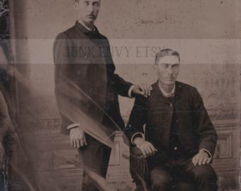 Antique Tintype Photograph . Civil War Era Portrait of Men with a Ghostly Haze. Digital Download . High Resolution Scan