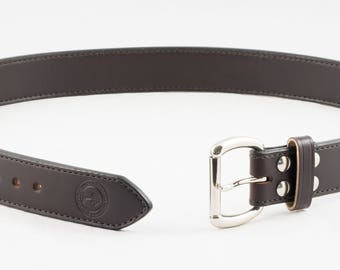 Hand-Stitched Ultimate Contour Leather Belt - CCW Belt • 15 ounce 1-1/2 inch Full Grain US Leather - Handmade in the USA