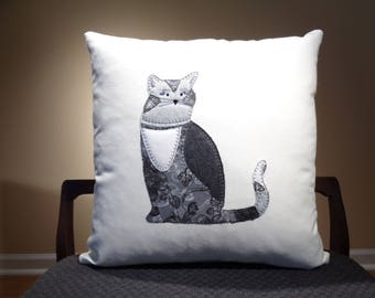 Modern Cat Decor, Grey Cat Pillow, Pet Pillows, Fun Cat Decor, Modern Cat Pillows, Cat Cushions, Gift for Cat Lover Pillow,