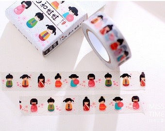 Japanese Kimono Girl Washi Tape ~ Masking Tape, Scrapbooking Stickers, DIY, Planner Stickers, Decorative Stickers, Kimono Stickers, Geisha