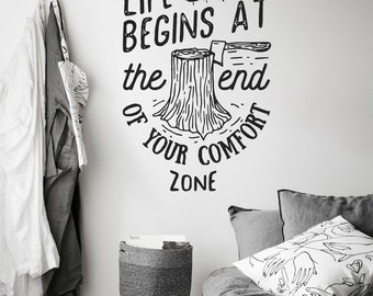LIFE BEGINS comfort zone Nature Lumber Trees Axe Vinyl Wall Decal Removable Sticker
