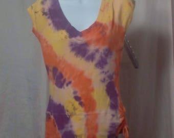 Orange, Yellow & Purple V-Neck Top, Size Large (#27)