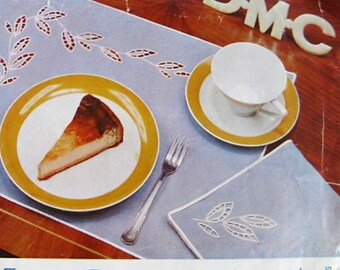 Vintage Embroidery Patterns-60' Broderie Anglais Leaf Design-Iron On Transfers for a Tablecloth Place mats and Napkins-DMC 1960's Original-