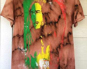 Bob Marley // One Love // Hand Bleached // Hand Thrashed // Custom Made Band T-Shirt
