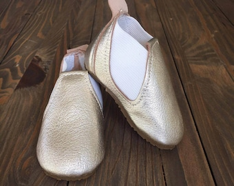 JR - Baby & Toddler Gold Leather Booties Handmade