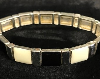 Vintage Silver Bracelet with Black and White Accents