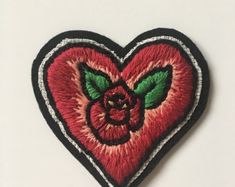 Classic Tattoo Rose Heart Hand Embroidered Patch