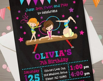 GYMNASTICS Invitation Chalkboard Gymnastics Birthday Invitation Gymnastics Party Gymnastics Birthday Gymnastics Invite Tumbling Party Invite