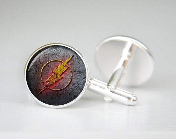 Flash cufflinks, Flash jewelry, Flash accessories, superhero cufflinks, cool gift, mens cufflinks, silver cuff links