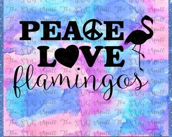SVG Cut File-Peace Love, Flamingos