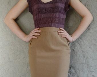 Wool pencil skirt, Mini skirt, Woollen secretary skirt, Office skirt, Pencil skirt, Creamy skirt, High waisted skirt, Vintage wool skirt.