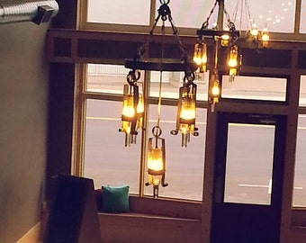 Wine Barrel Lighting BEAR CREEK Five Light Industrial Chandelier with Recycled Wine Bottle Shades
