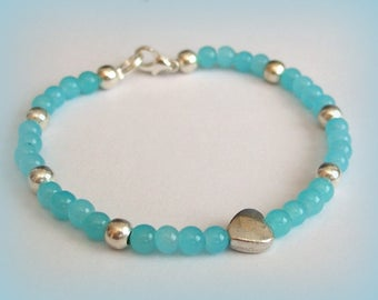 Bracelet peace serenity reflection peace patience Crystal Jade blue, heart tibet silver
