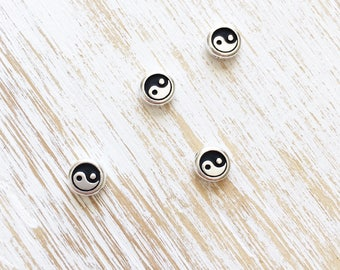 Antique Silver Yin Yang Bead by Tierracast 7.5mm / 4pc, Buddhist Beads, Yin Yang Charm, Yoga Beads, Meditation Mindfulness Zen (T94555112)