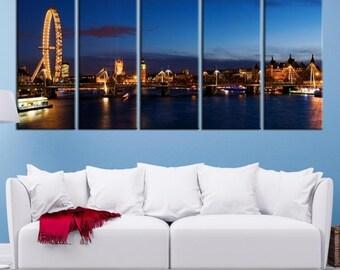 London City Wall Art Canvas Print, London Poster, London Canvas, London Canvas Print, Wall Art London, Big Ben Art Print, England Wall Art