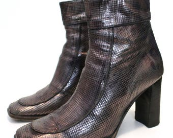 Boots grey leather glam rock metal/high heels/year 90's / end Carre/edmond.k/made in Italy size 37