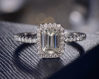 Moissanite Engagement Ring Emerald Cut Eternity Ring Forever One Halo White Gold Wedding Bridal Solitaire Anniversary Promise Ring Women