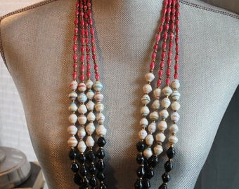 The Zuri- 4 stranded beaded necklace, red, ivory & black