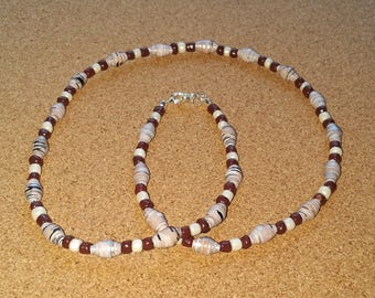 Handmade brown - white recycled paper bead necklace
