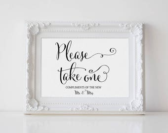 Please Take One Sign, Party Favors Sign, Wedding Reception Favors Sign, Printable Instant Download Favors Sign #MCS-103m