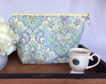 Yellow, Teal and Purple Paisley Oversized Knitting Project Bag