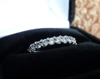 White Cubic Zirconia 12 stone Eternity Band Sterling Silver