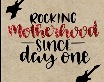 Rocking Motherhood Guitar personalized Mothers Day gift 12x12 tile