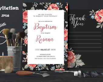 Printable baptism invitation, Baptism invites, Baptism invite, girl baptism, invitation template, editable, Christening