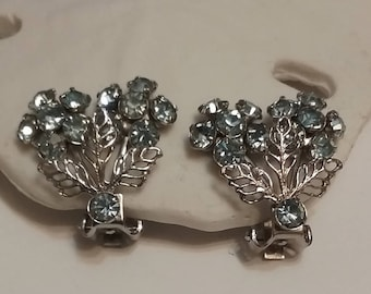 silver and baby blue clip earrings