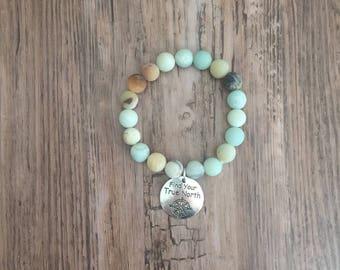 Bohemian style Amazonite Beaded Stretch Bracelet- Boho stacking Bracelet, Journey Bracelet