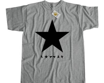 David Bowie Black Star Shirt Grey Or White Unisex | David Bowie T Shirt David Bowie TShirt David Bowie T-Shirt David Bowie Black Star Tshirt