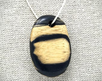 Exotic Black and White Ebony wooden necklace pendant