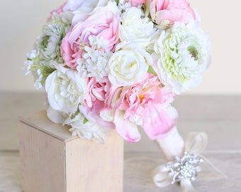 Silk Bridal Bouquet Peonies and Pink Roses Garden Rustic Chic Wedding (1020)