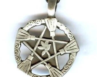 Pendant talisman pentacle and broom