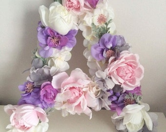 Floral Letter Wall Decor for Nursery or Girls Room Faux Floral 17""
