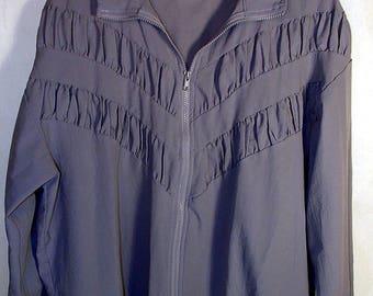 80s Granny Chic Windbreaker Zip Jacket Blair Purple Lavender Size Medium Large XL 90s Vintage Retro Bingo Hall Track Jacket Ruffle Pockets