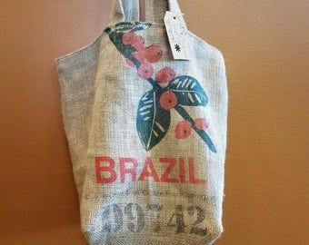 Burlap repurposed tote bag