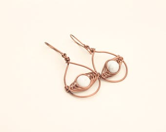Antique Copper Wire Earrings, Howlite Herringbone Earrings, Simple Copper Jewelry, Semiprecious Gemstone Earrings
