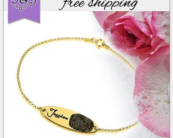 FREE SHIPPING* Fingerprint Bracelet • Engraved Gold Plated Name Bracelet Personalized Fingerprint • Memorial Gift • Memorial Jewelry GPB1063