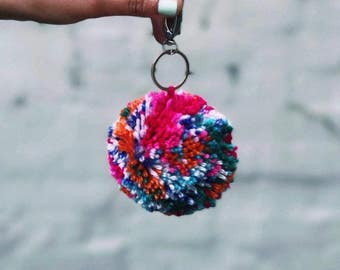 Fruit Loops Pom Pom Key Ring