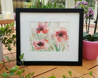 An Original Watercolour Painting 'Poppies' by Eleanor Whyton with Mount and Frame