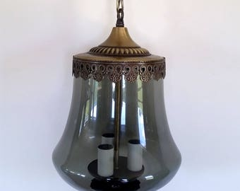 1970s Beautiful SMOKE GLASS SWAG Lamp Mod Lighting Hollywood Regency Pendant 3 Light Fixture - 2 Available - Bell-Shape Brass Filigree Smoky