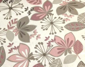 Neutral Ground by Maywood Studio in Flower Bed, Simple Flowers and Floating Leaves (Taupe/Blush)