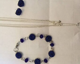 Blue Druzy Set with Swarovski Crystals