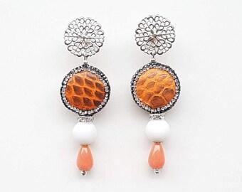 Handmade earrings, gemstone earrings, handmade earrings made of Python skin, summer earrings, drop earrings, Orange